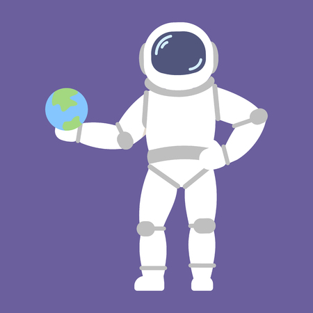 Vector astronaut with earth in flat style