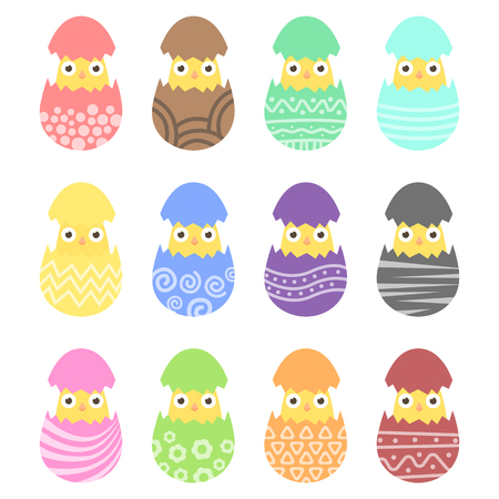 chik: Set easter chiken in egg with ornament. Pack icon colorful chik in egg Illustration