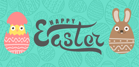 happy: Handwritten lettering happy easter and chocolate easter bunny egg and chiken in egg with ornament