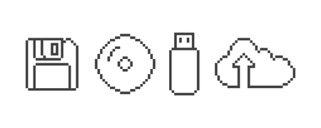 sd: Evolution drive and disk pixel icon Illustration