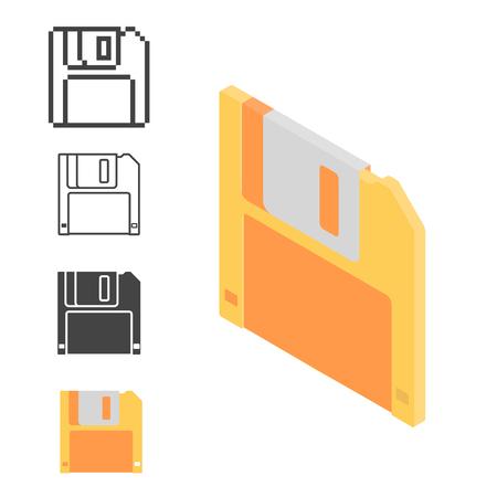 information medium: Set retro floppy disk isometric, line and pixel icon