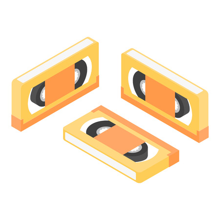 Set retro cassette video icon isometric. VHS tape 3d Illustration