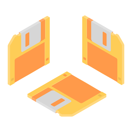 Set retro floppy disk isometric icon