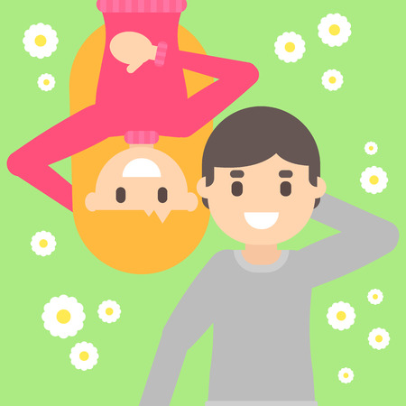 clearing: A Vector flat cartoon happy young blonde girl and funny guy lie in the meadow