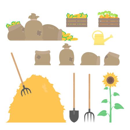 Set of agricultural tools. Shovel, pitchfork, sacks, box.