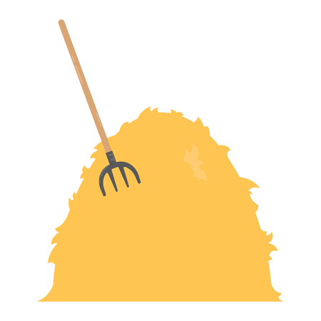 Farm haystack with pitchfork