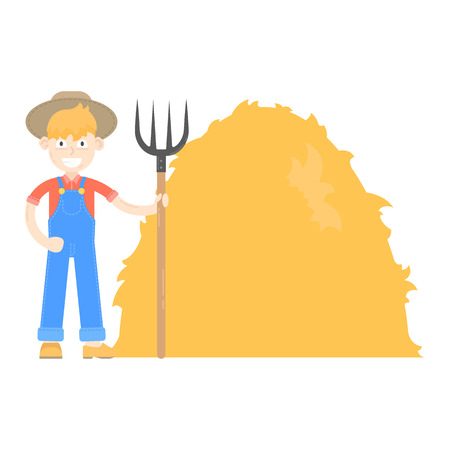Farmer in hat dressed in a blue jumpsuit, stand with pitchfork about haystack