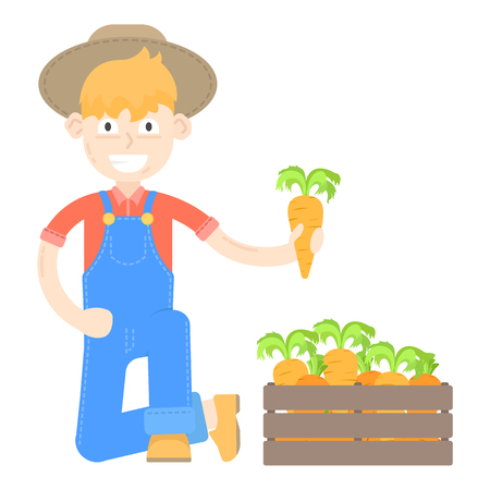 Farmer in hat dressed in a blue jumpsuit with carrots