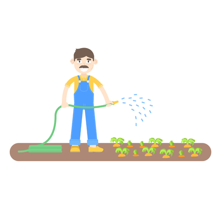Farmer with mustache dressed in a blue jumpsuit watering carrots with hoses