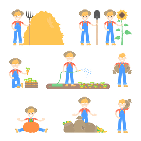 Set of farmers and gardeners in hat use different agricultural tools and different poses