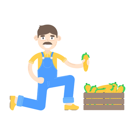 Farmer with mustache dressed in a blue jumpsuit with corns