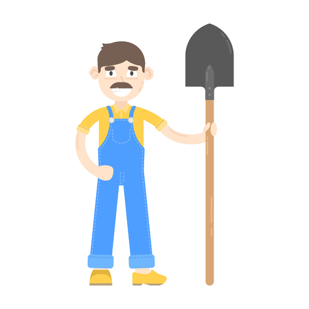 Farmer with mustache dressed in a blue jumpsuit, stand with shovel