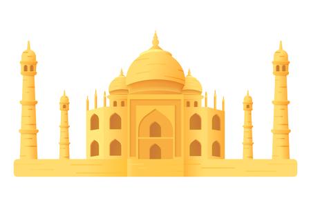 Taj Mahal temple illustration icon isloated