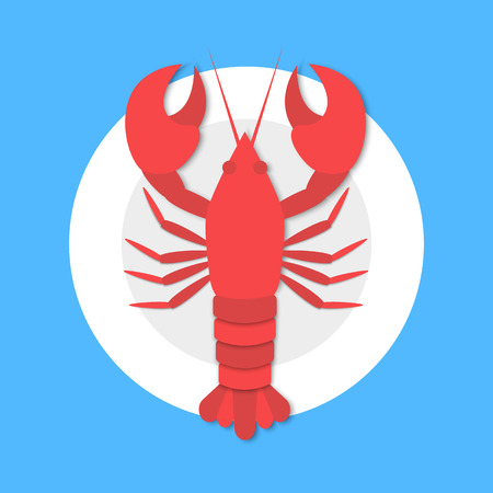 Cooked red lobster on plate in flat style on blue background