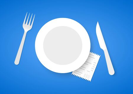 costs: Bill for dinner under plate. Receipt for food on blue background Stock Photo