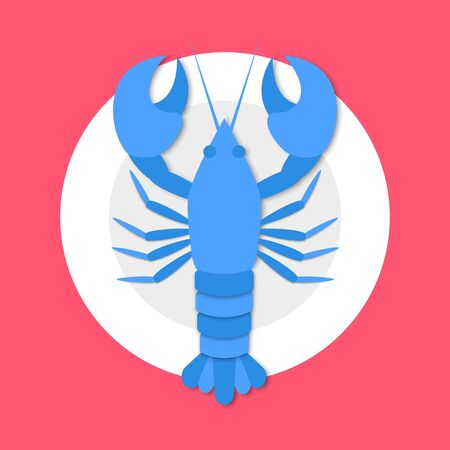 Cooked blue lobster on plate in flat style on red background