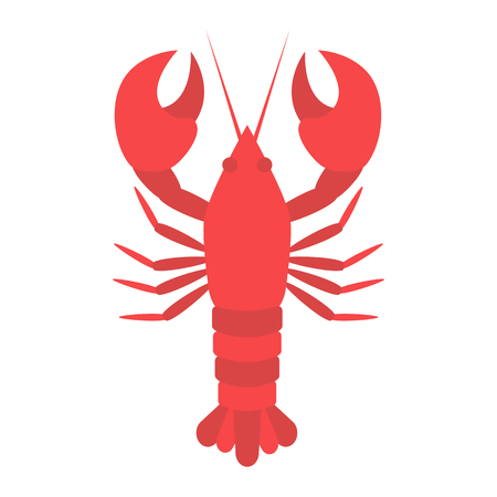 red lobster in flat style isolated Stock Photo