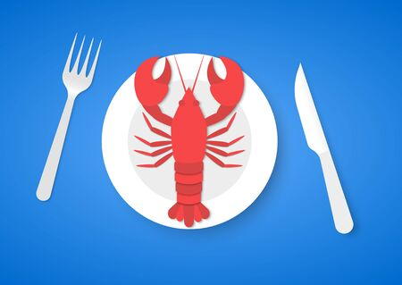 Cooked red lobster on plate with fork and knife, on blue background