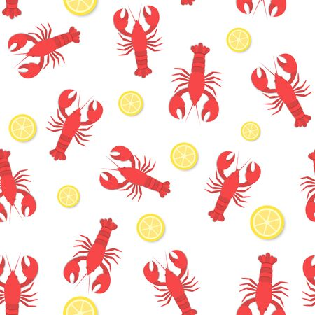 limon: red lobster and lemon flat seamless pattern