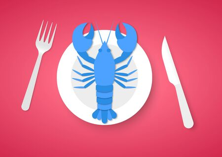 Cooked blue lobster on plate with fork and knife, on red background