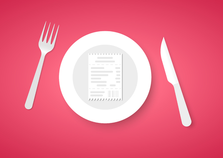 Bill for dinner for plate. Receipt for food on red background