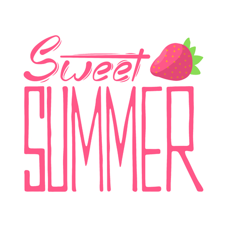 Lettering hand drawn sweet summer with strawberry banner