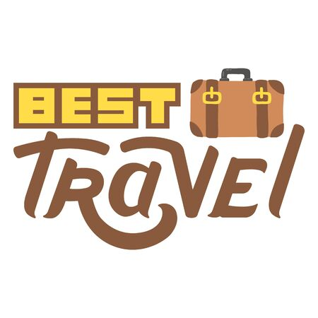 valise: Lettering hand drawn best travel with briefcase logo