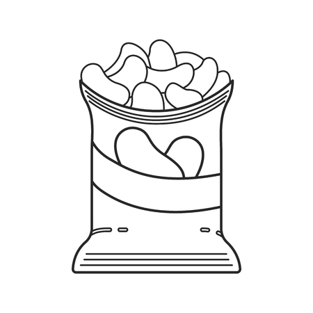 Icon line bag of chips from potatoes illustration.