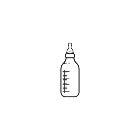 Icon glass baby milk bottle with teat in line style illustration.