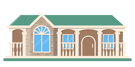 Grunge wooden mansion building vector. Isolated flat house on white background