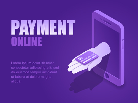 Vector illustration isometric hand with credit plastic card of phone screen landing page. Concept payment online.