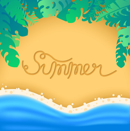 Lettering summer written on sand coast, with sea waves and exotic leaves