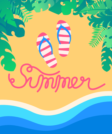 Summer tropical beach with sea wave background