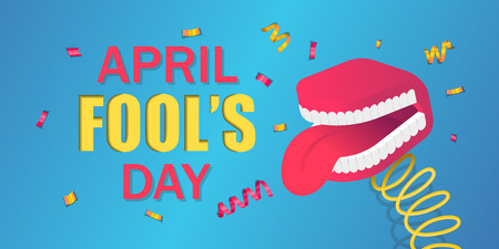 False teeth with tongue toy april fool's day banner