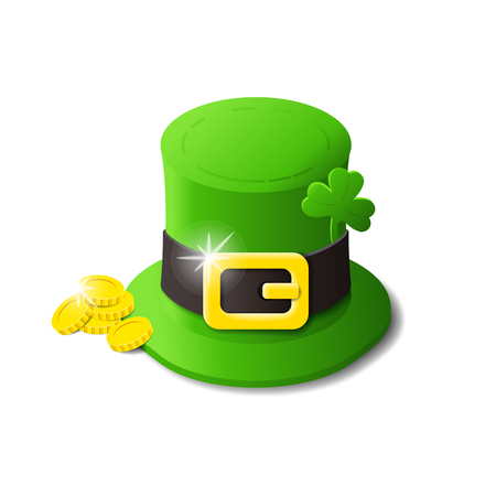St. Patricks day hat with clover and golden coins isometric isolated icon Illustration
