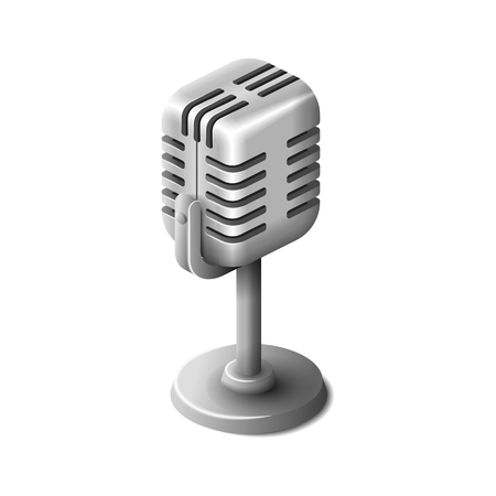 Isometric realistic silver retro microphone isolated
