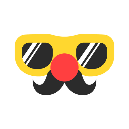 Big glasses with red round nose and retro mustache. April fool's day stuff