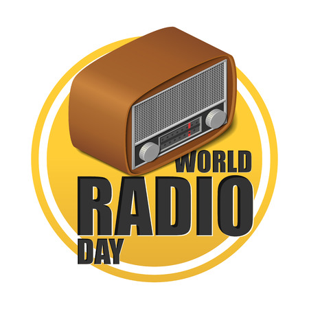 World radio day lettering with isometric realistic old retro radio isolated 向量圖像