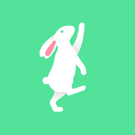 Bunny curious reaching up on tiptoe in flat style icon