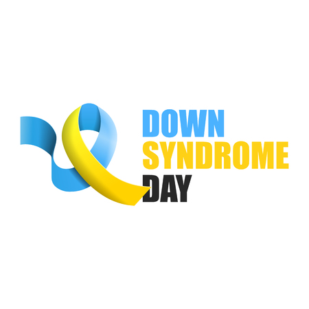 Blue and yellow ribbon with text world down syndrome day