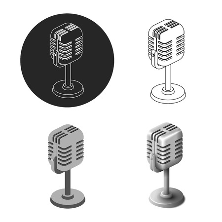 Set old retro microphone in different style isometric isolated