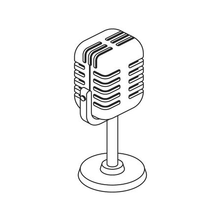 Icon retro microphone in line style Ilustrace