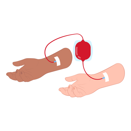 Blood transfusion between two hand isometric Ilustrace