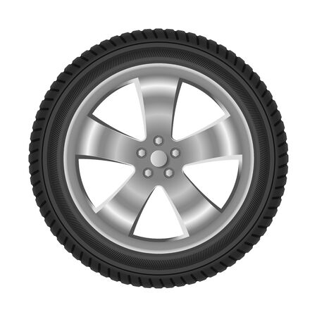 Car wheel with tire realistic isolated Vector Illustratie