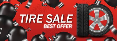 Tire sale with car wheel and black balloons and confetti on red background poster card Foto de archivo - 134762439