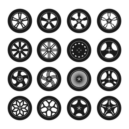 Set with silhouette car tire and wheel icons isolated