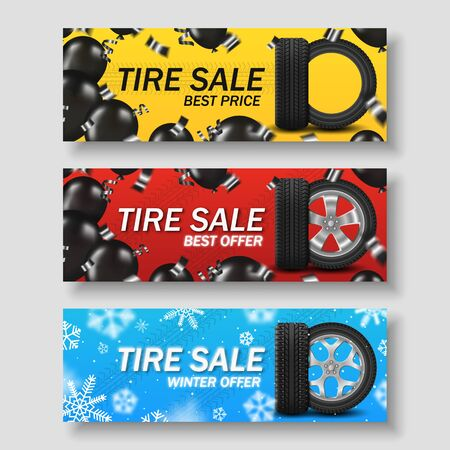 Set tire sale banner with car wheel, black balloons and snowflakes Foto de archivo - 134762448