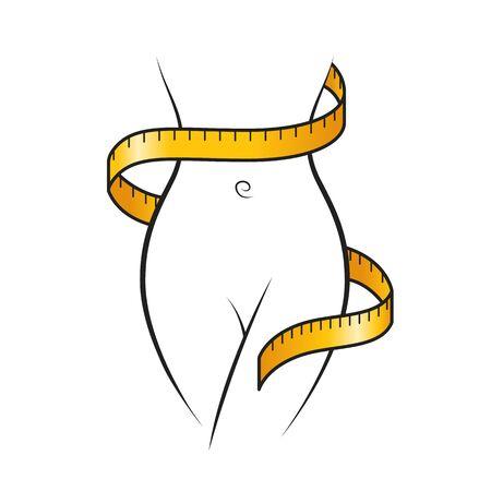 Le ruban à mesurer jaune s'enroule autour de l'icône du corps mince du contour de la femme