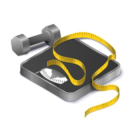 Concept fitness weight lose with measure tape on weight scale and metal dumbbell realistic isometric