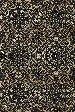 Floral and leaf seamless pattern in Oriental motifs  Illusztráció